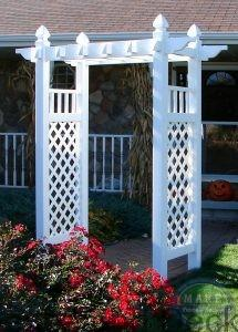 Vinyl Arbor Ashland- The Arcadian arbor is the perfect entrance or accent, welcoming you to a place of calm simplicity and peace. The lattice panel sides allow for climbing vines to be easily incorporated into your landscaping while adding to the appeal of the structure.