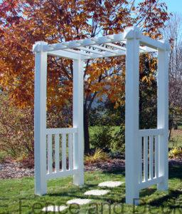 Vinyl Arbor Langlade- Simplicity with a touch of class can be added to your landscape with the addition of a Bloomfield arbor. The high quality vinyl ensures this piece will be an asset for many years and the fundamental design allows for unlimited landscaping options.