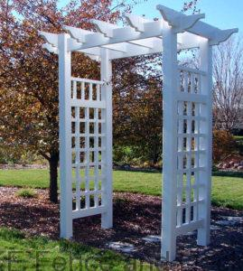 Vinyl Arbor Richland- The Plantation arbor has decorative caps that offer elegant sophistication while the clean lines offer a more modern appeal. The combination is sure to add an air of distinction to any landscape.