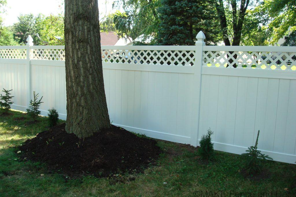 white vinyl lattice top privacy fence Marshfield 6' tall