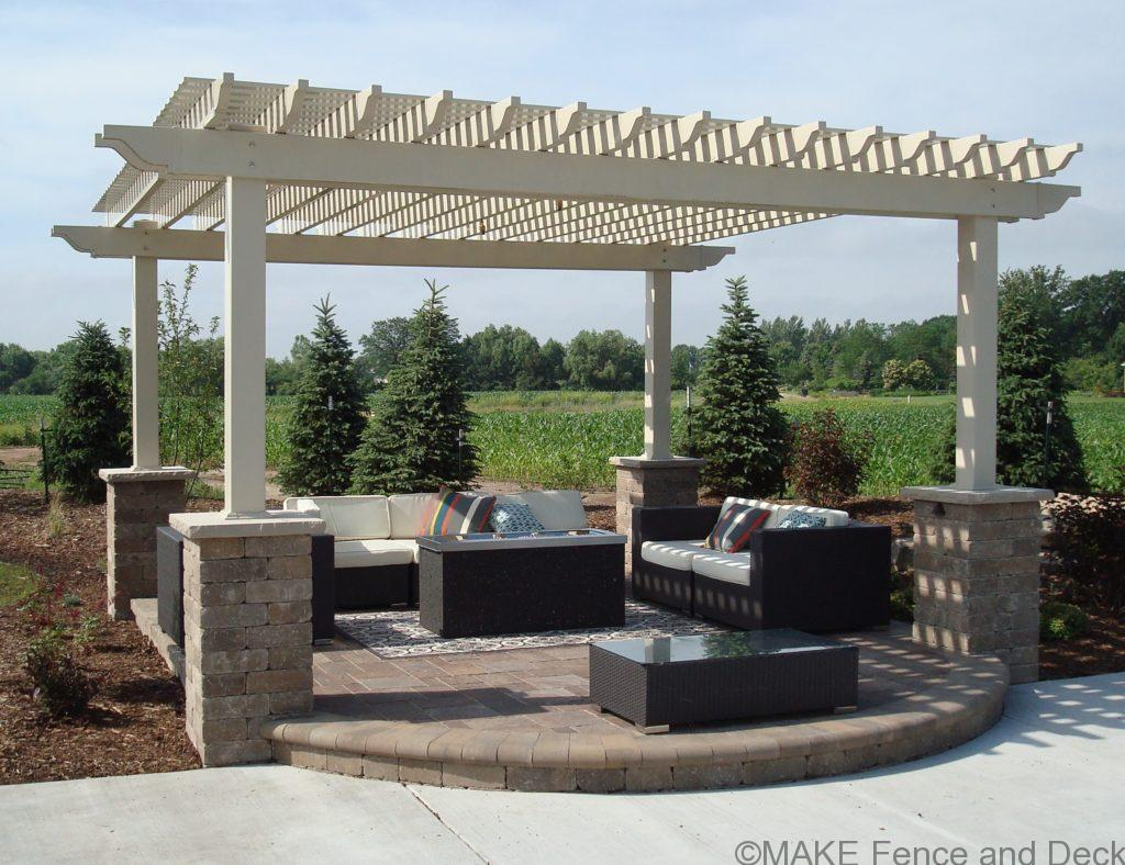 "16'x 16' tan vinyl pergola with 6"" x 6"" posts"