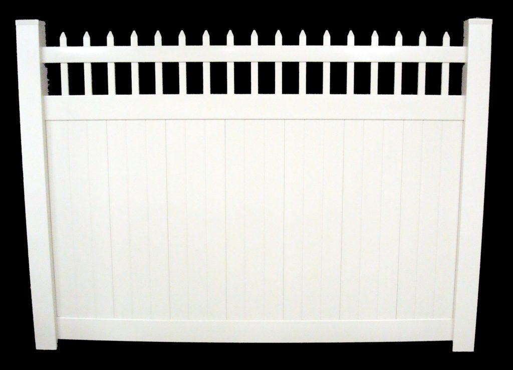 """white vinyl privacy fence Morrison Available Heights: 72"""" tall Rail Size: 2"""" x 3-1/2"""" Top & 1-1/2"""" x 5-1/2"""" Middle & Bottom Picket Size: 7/8"""" x 1-1/2"""" & 7/8"""" x 11-1/4"""" Tongue & Groove Picket Space: 3-5/8"""" & 0"""" Post Size: 5"""" Post Space: 71"""" or 97"""""""