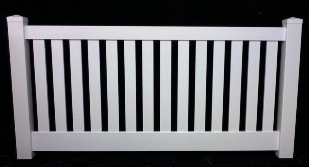 """vinyl semi privacy fence Concord Heights: 36"""", 48"""", 60"""" or 72"""" tall Rail Size: 2"""" x 3-1/2"""" Top & 1-1/2"""" x 5-1/2"""" Bottom Picket Size: 7/8"""" x 3"""" Picket Space: 2-7/8"""" Post Size: 4"""" Post Space: 72"""" or 96"""""""